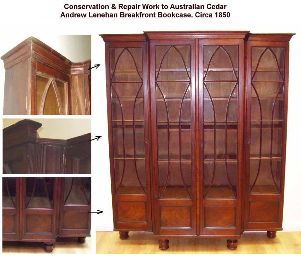 Conservation restoration to Australian cedar breakfront bookcase. Circa 1850. Clock here to see more...
