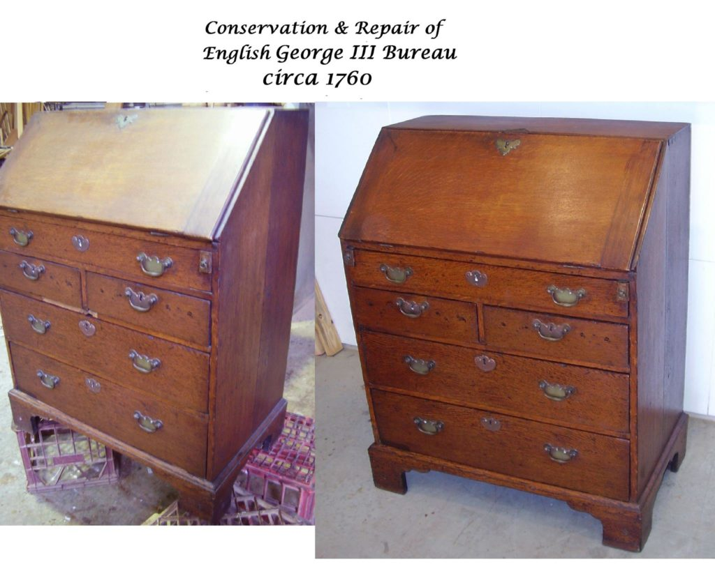 Conservation restoration of George III Bureau Circa 1790. Click here to see more...