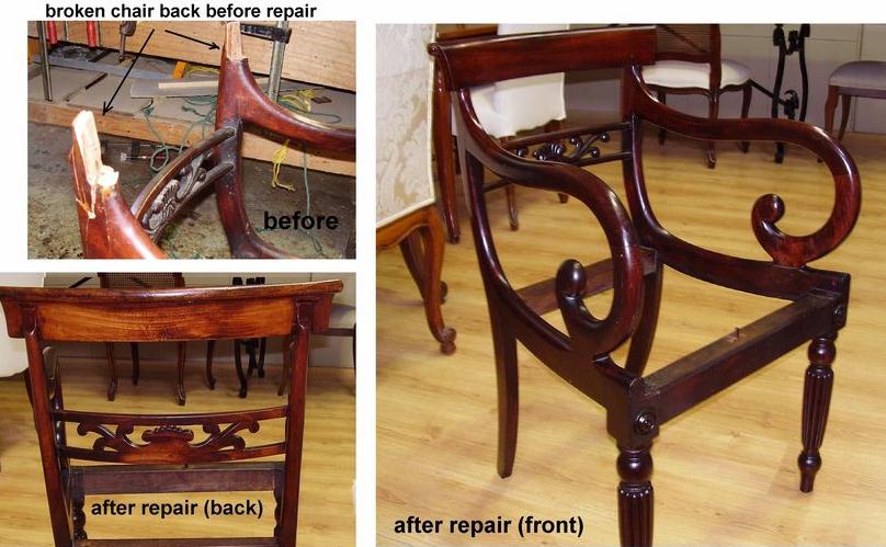 Recent repair to Scroll Arm Carver c1800s