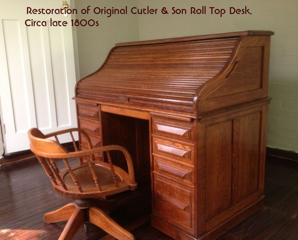 Restoration of Cutler & Son Roll Top Desk. Circa late 1800s. Click here to see more...