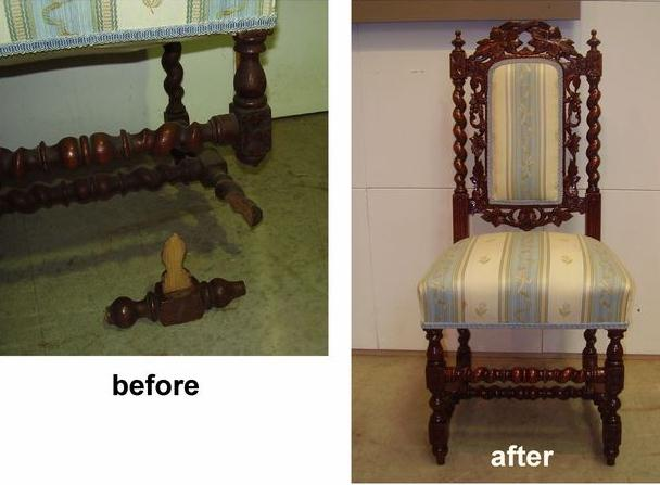 Repair to late Victorian French Jacobean Style Dining Chair