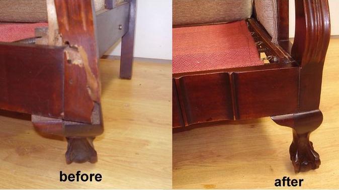 Recent Repair Work to Antique Arm Chair c1920
