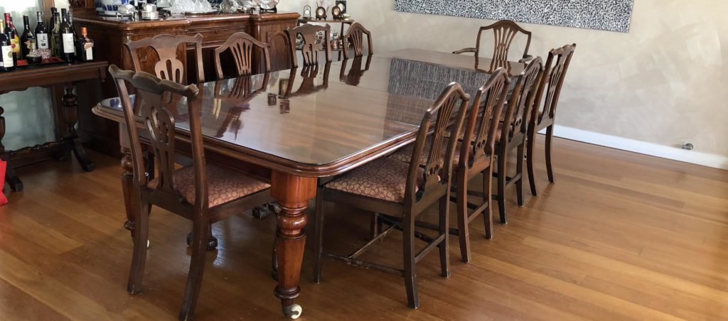 Restoration and French polishing of mid-Victorian extension table.