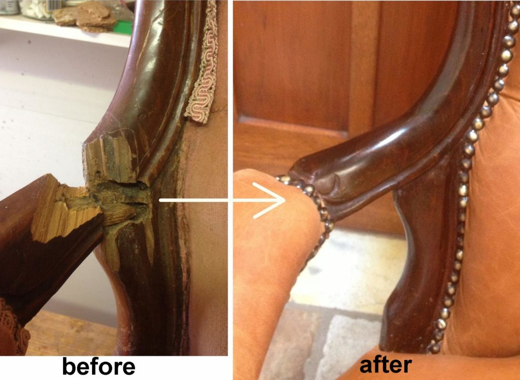 Extensive repair to broken arm of victorian Grandfather Chair c1850