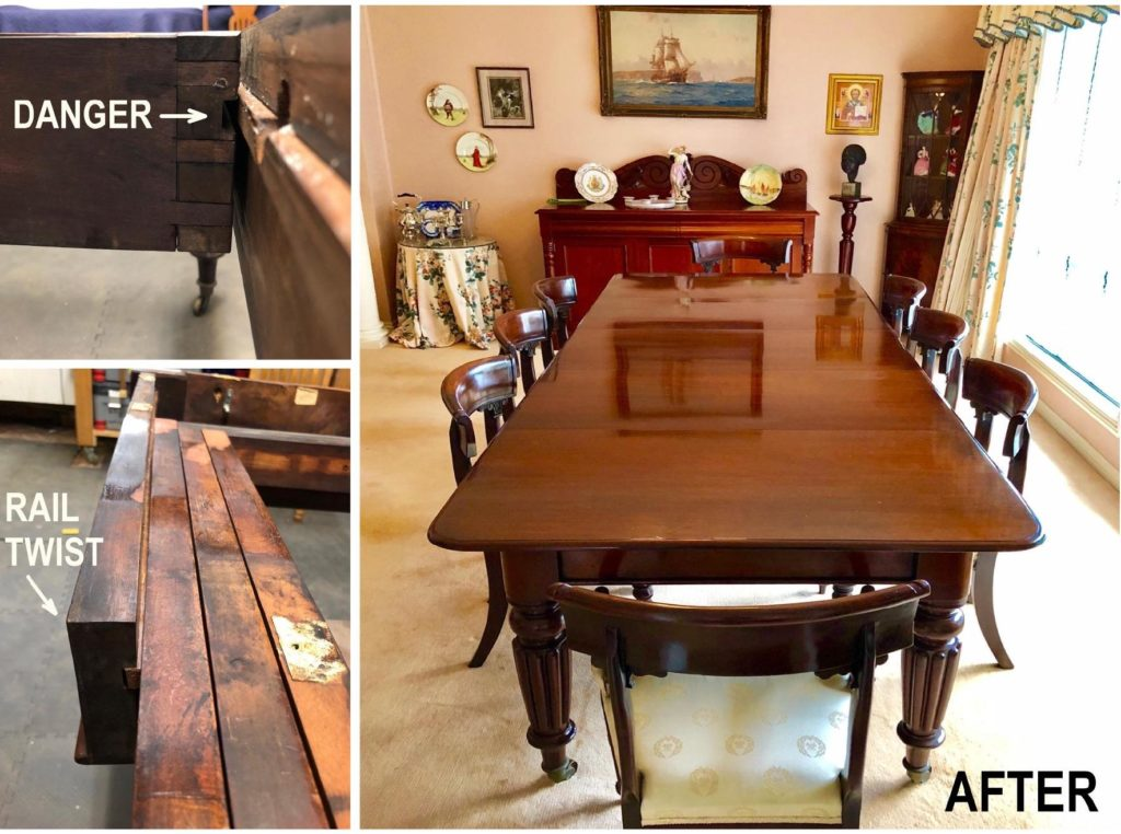 Restoration and repair 1860s mahogany extension table. Click here to see more...
