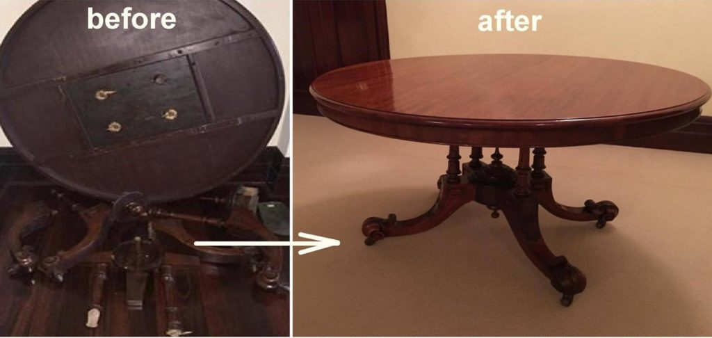 Extensive Repair to Victorian Cage Base Table c1860