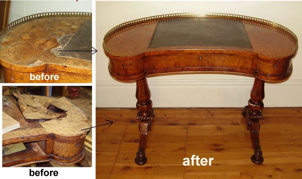 Repair water damage to burr walnut top of Victorian desk c1860