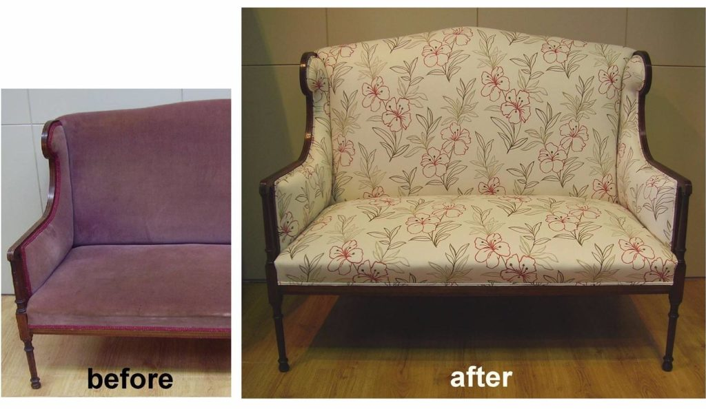 Sheraton settee reupholster and recover. Click here to see more...
