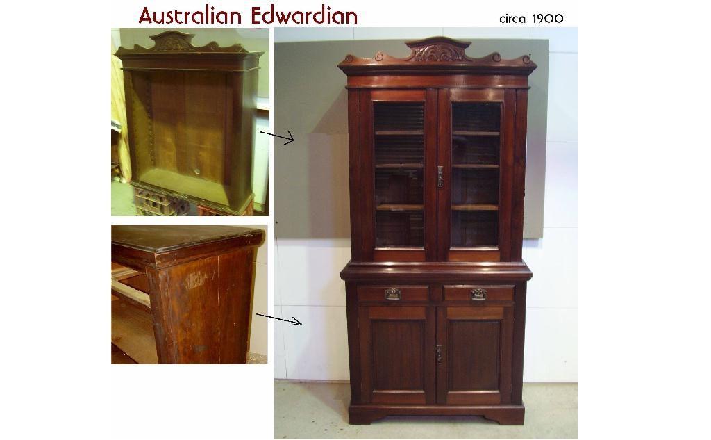 Restoration Australian Edwardian Kauri bookcase circa 1900. Click here to see more...