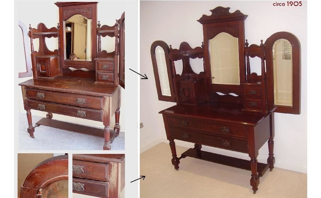 Restoration Australian Edwardian wing mirror dressing table c1905. Click here to see more...