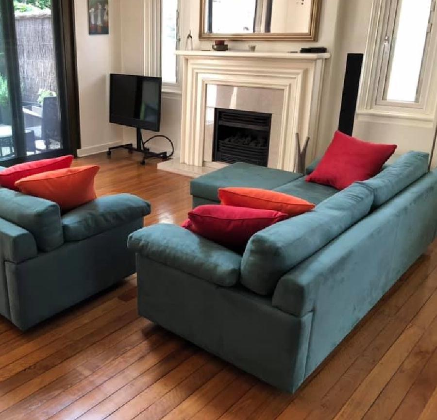 Recover lounge suite and custom made ottoman