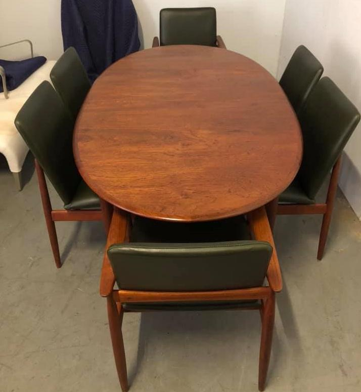 Restoration, repair and reupholstery Parker 1960s mid century dining table and chairs... see more