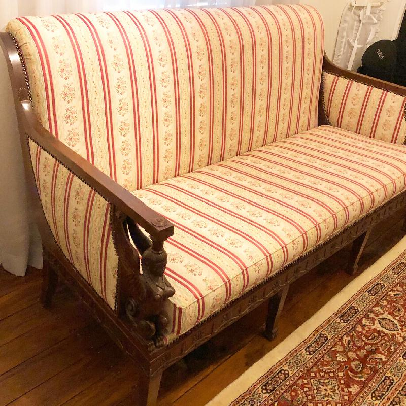 Antique settee restoration and reupholstery. Click here to see more...