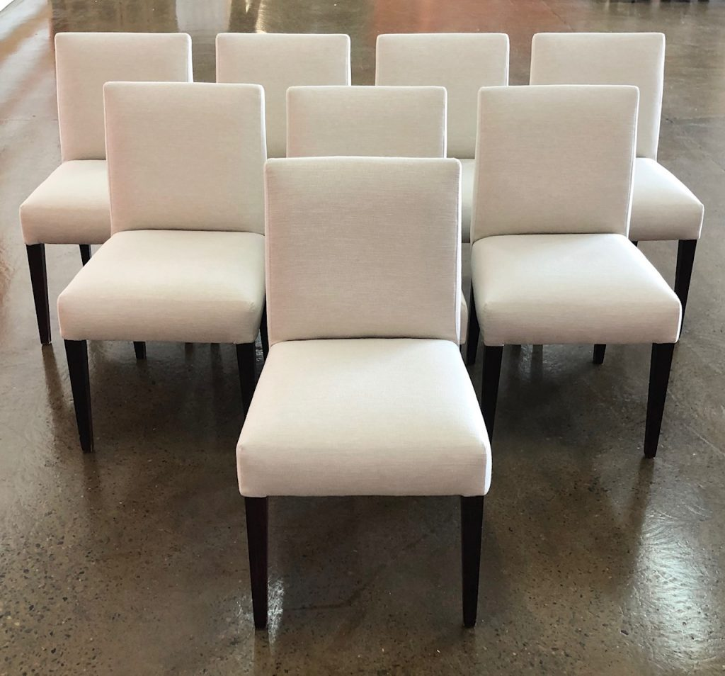 Recover 8 dining chairs in Colourwash Ivory from Zepel Fabrics. See fabric...