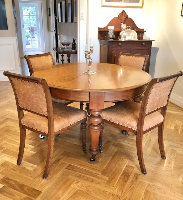 Restore and reupholster Edwardian leather dining chairs... see more