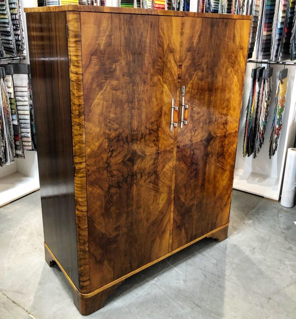 Restoration and French polishing art deco cupboard. Click here to see more...