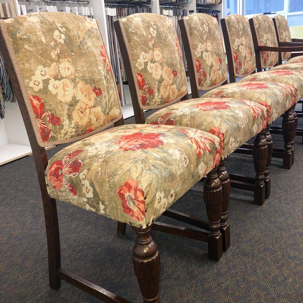 Restoration and reupholstery of 6 x vintage c1930s Jacobean dining chairs... see more