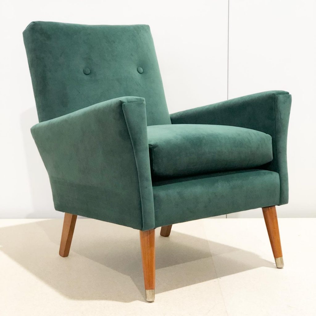 Reupholster and recover mid-century armchair
