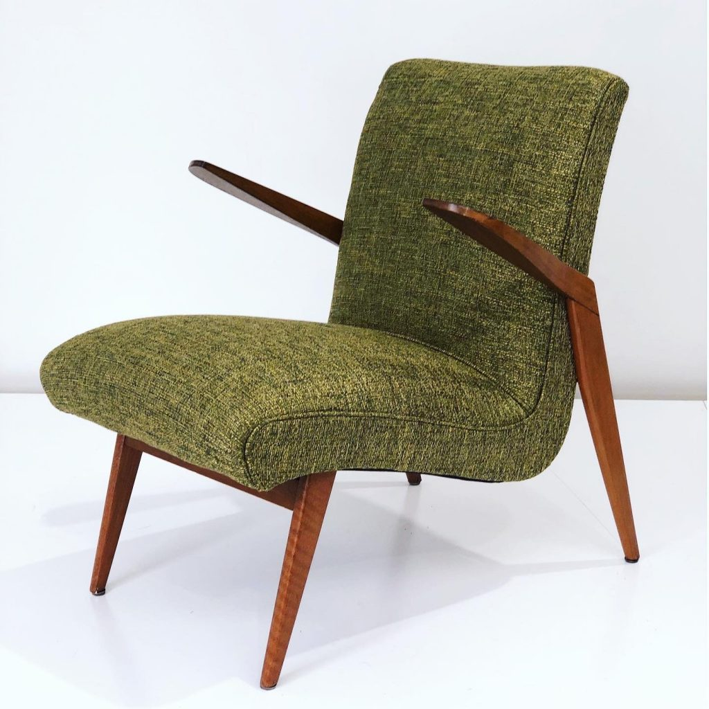 Rare upholstered original Douglas Snelling mid-century arm chair. Fully restored and reupholstered... see more