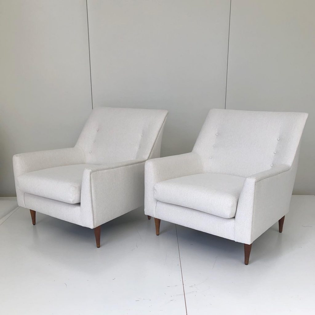 Recover two mid century armchairs... see more