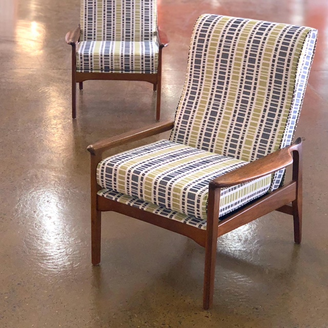 Restoration and reupholstery of two Fler armchairs... see more