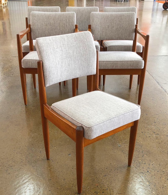 Mid-century Chiswell dining chairs reupholstered and recovered... see more