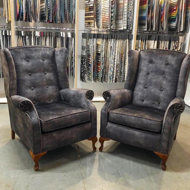 Traditional wing back button armchairs restored and reupholstered... see more