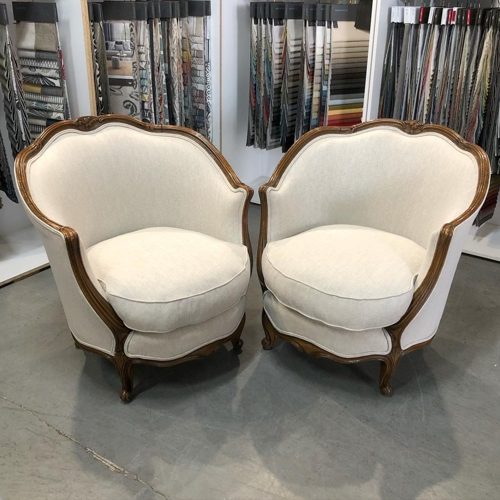 Restoration, repair and reupholstery of antique French Louis tub chairs... see more