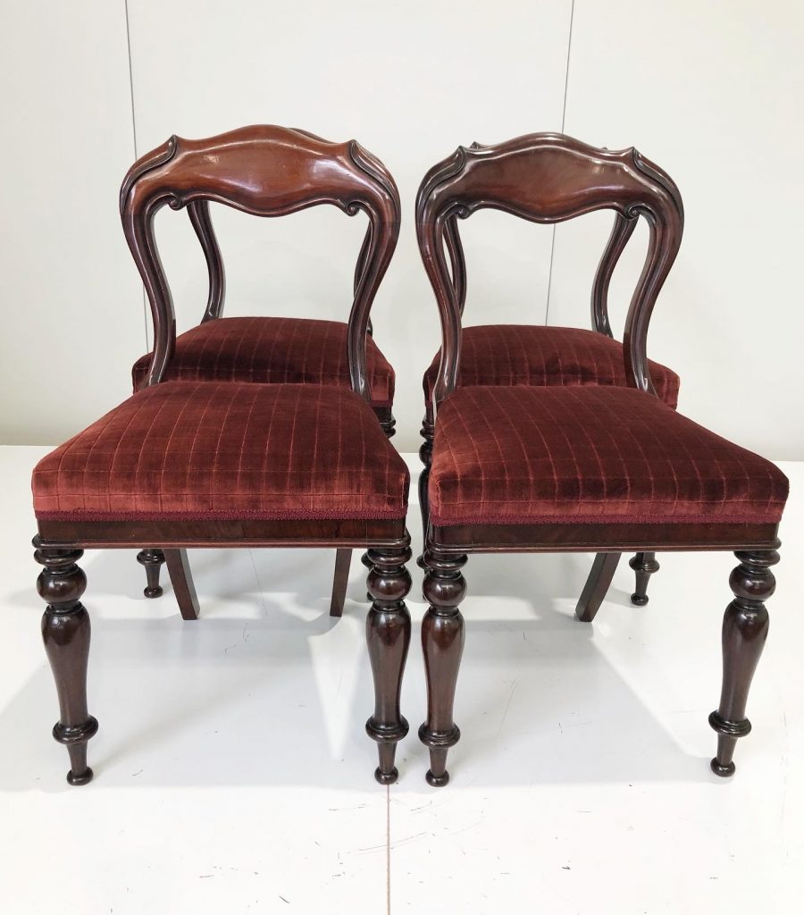 French polish, restore and reupholster 4 x Victorian balloon back chairs. Clock here to see more...