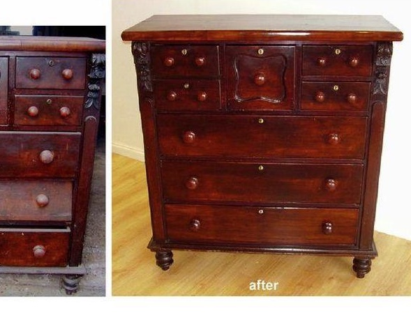 Conservation & Repair to Australian Cedar Chest of Drawers. circa 1880. Click here to see more...