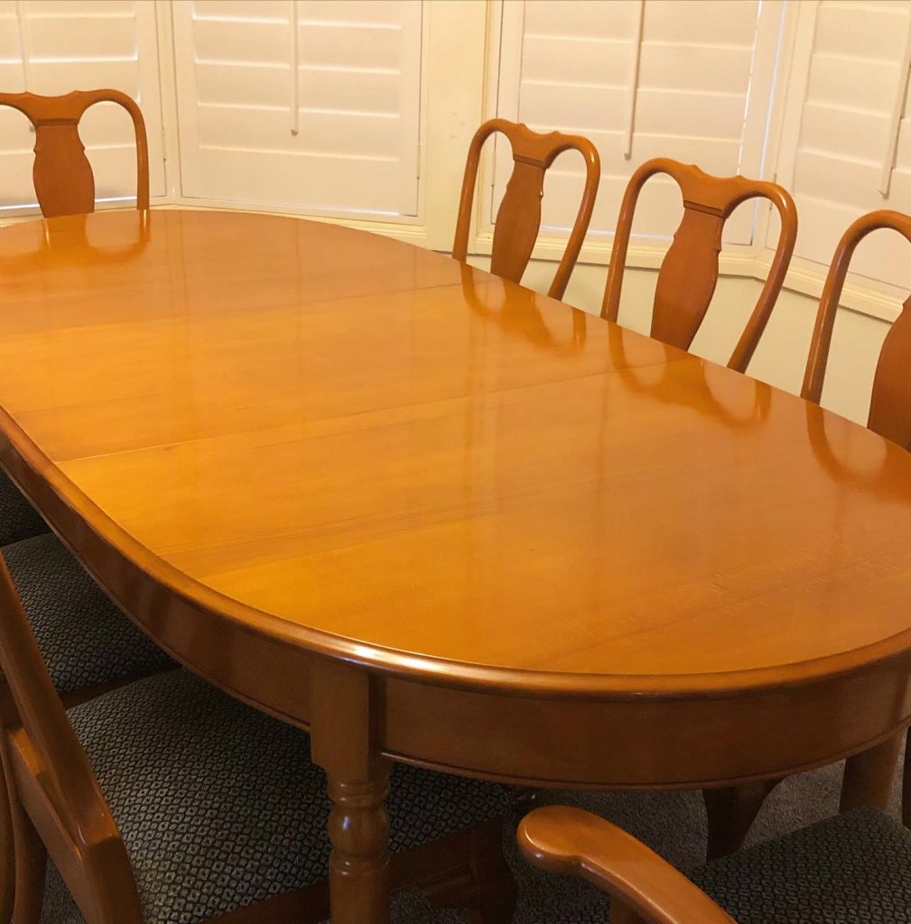 Full restoration, French polishing and reupholstery Australian vintage 1970s Jackson extension table and chairs... see more