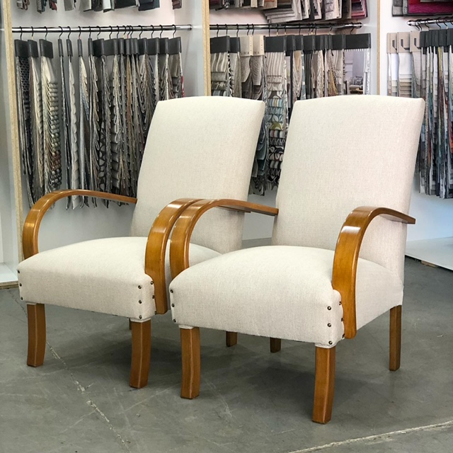 Full restoration and reupholstery two mid-century armchairs... see more