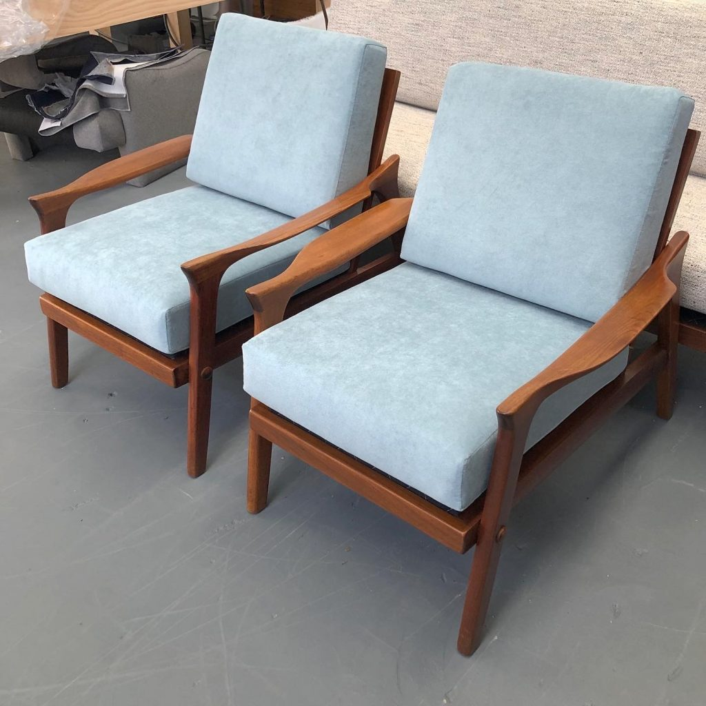 Restoration and reupholstery of two Fler mid-century armchairs... see more