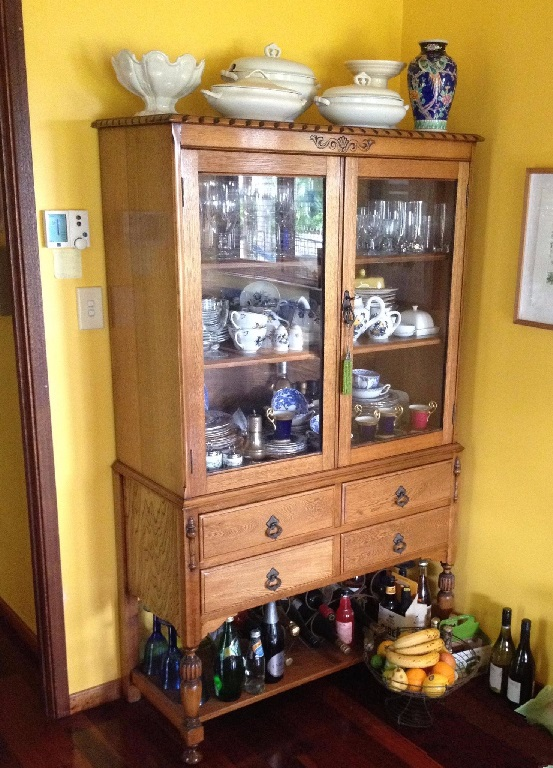 Restoration vintage Jacobean display cabinet. Click here to see more...