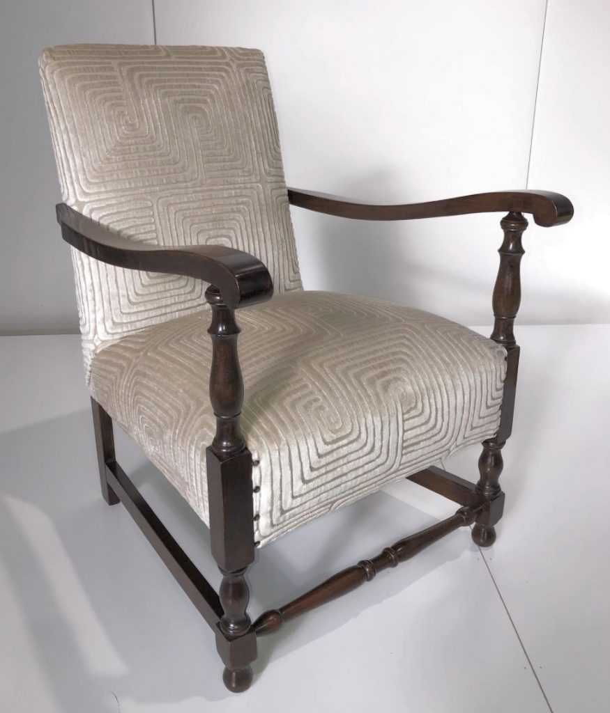 Jacobean vintage armchair restoration. Click here to see more...