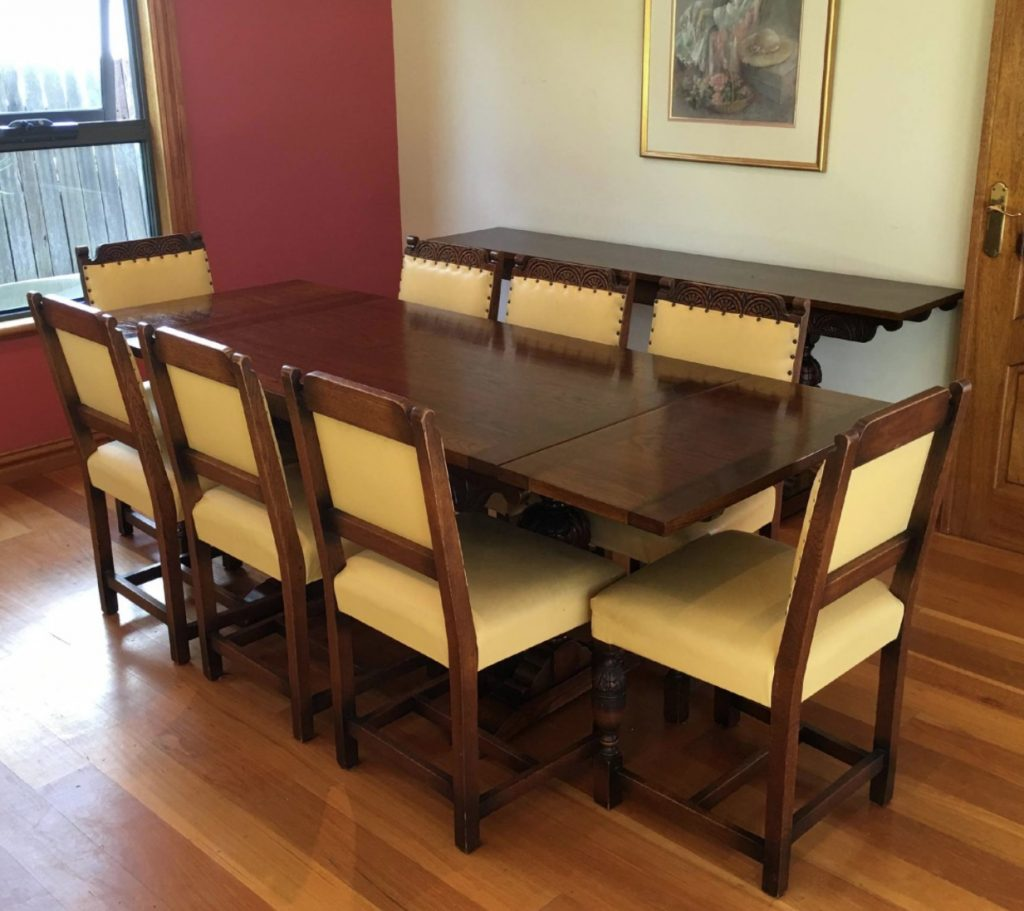 Jacobean vintage dining table and chairs restoration. Click here to see more...