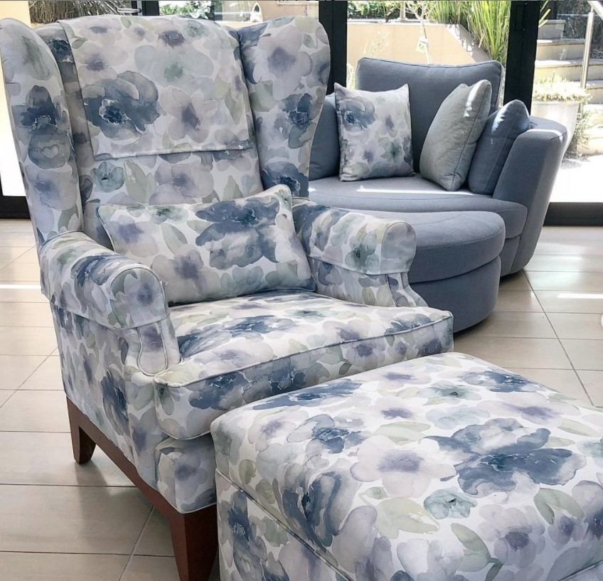 Recover vintage armchair and ottoman. See more...