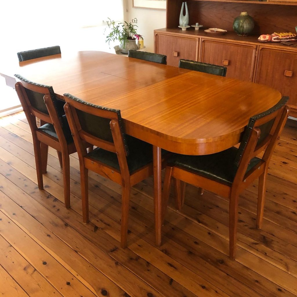 Full restoration and reupholster Chiswell table and chairs c1956... see more